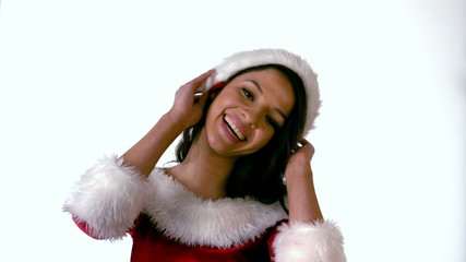 Pretty brunette in santa outfit smiling