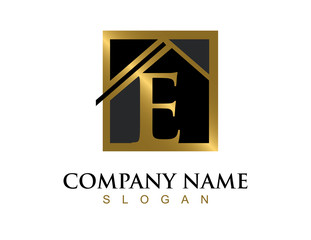 Gold letter E house logo