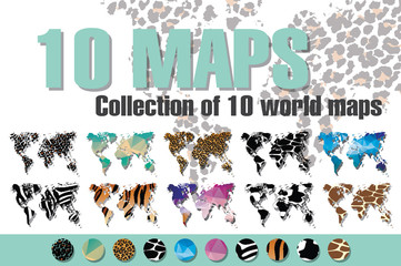 Collection of 10 world maps in different designs, animal prints