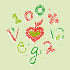 100 percent vegan hand lettering illustration
