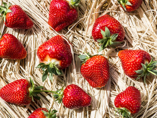 Strawberries on a thatch