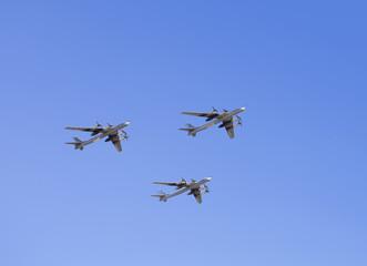 "Russian strategic bombers ""Tu 95"" in flight"