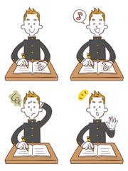 勉強する学生4種類のポーズと表情