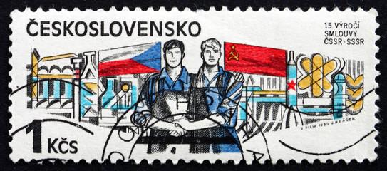 Postage stamp Czechoslovakia 1985 Czech-Soviet Treaty, 1970