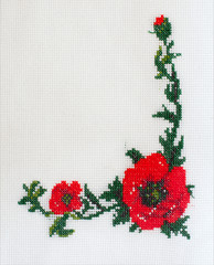 embroidered cross-stitch flowers on canvas patterns