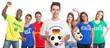 Fussball Fan aus Deutschland mit Ball und anderen Fans