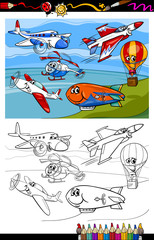 planes and aircraft cartoon coloring book
