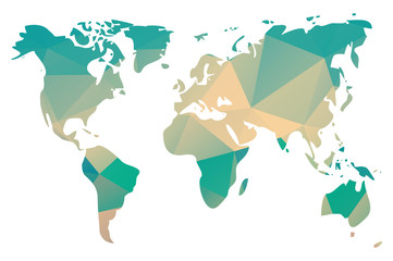 World map in geometric triangle pattern design