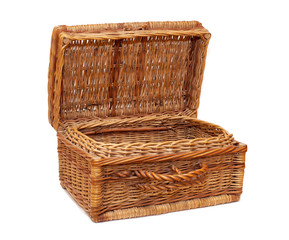 vintage wicker chest, opened  on white background