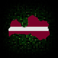 Latvia map flag on hex code illustration