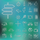 travel and accommodation outline icons poster