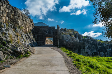 The Lion gate in Mykines, Greece