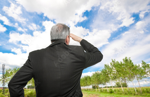 Business man looking at the horizon