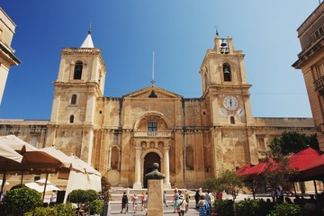 View of the St. John's Co-Cathedral in Valletta, Malta