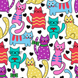 Fototapety Cartoon seamless multicolored black cats and hearts