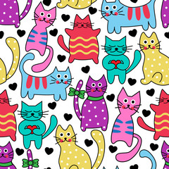 Cartoon seamless multicolored black cats and hearts