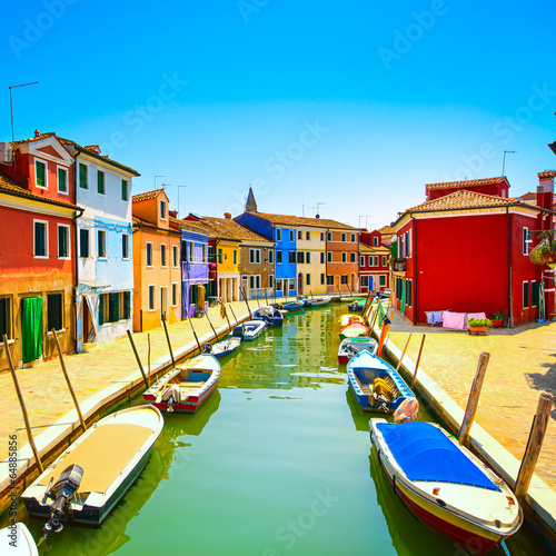 Venice landmark, Burano island canal, colorful houses and boats, - 64885856