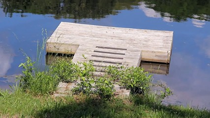 Small Wood Pier On A Pond Closeup