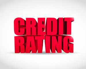 credit rating 3d text sign illustration design