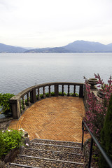 Terrace above the lake Maggiore color image