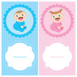 Постер, плакат: Baby Boy and Girl Greeting cards