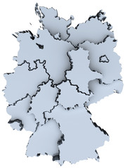 Germany national map Deutschland states 3D