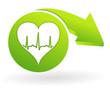 rythme cardiaque sur web symbole vert