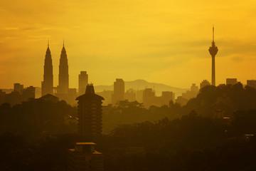 silhouette of kuala lumpur city