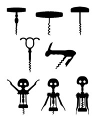 Black silhouettes of different corkscrew, vector illustration