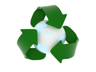 Erde und Recycling-Logo