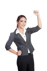 Asian business woman fist pump for  success