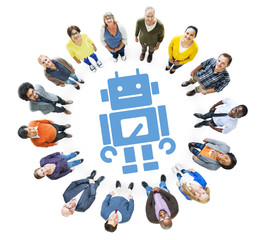 Group of Multiethnic People Looking Up with Robot Symbol