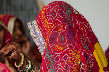 colorful saree , woman ,wedding , Rajasthan, India