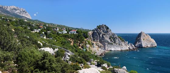 View on mountain Ai-Petri and town Simeiz, Crimea