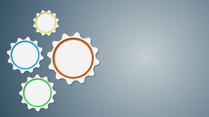 Animated 3d gears on grey background. Looped animation.