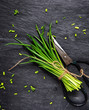 Chopping a bunch of fresh chives