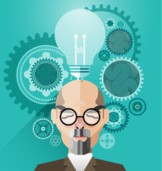 Head with Creative brain idea concept vector