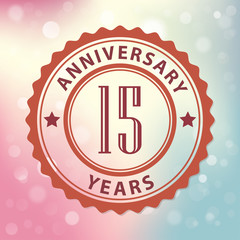15 Years Anniversary-Retro seal, with colorful bokeh background