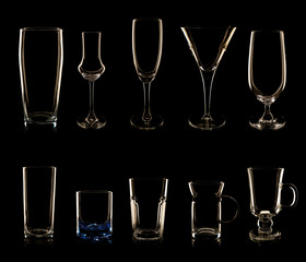 Set of multiple glasses and bottles