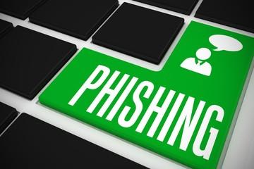 Phishing on black keyboard with green key