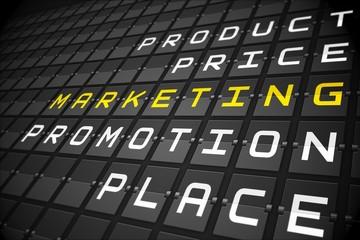 Marketing buzzwords on black mechanical board
