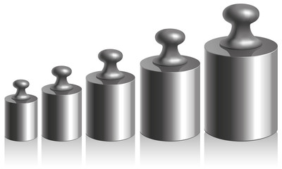 Vector calibration iron weights on a white background
