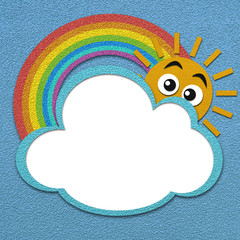 Rainbow cloud and sun on striped paper