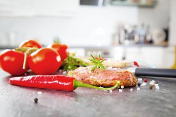 Steak vorbereitung in der küche