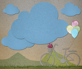 Bicycle with balloons and space for your greeting