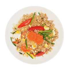stir fried vermicelli with beaten egg on plate