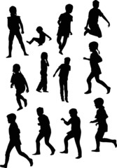 twelve child silhouettes collection isolated on white