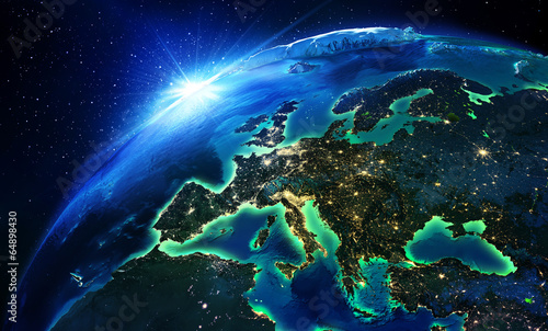 Poster Ruimtelijk land area in Europe the night