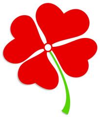Kleeblatt Herzen rot