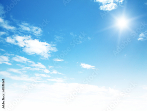 blue sky background with tiny clouds - 64898668